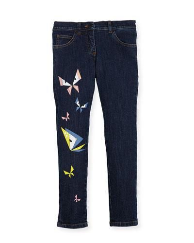 Girls' Butterfly Eyes Denim Pants, Size 3-5