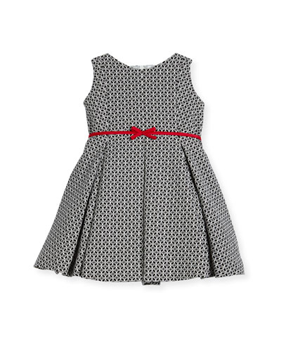 Geometric Print Dress w/ Red Trim, Size 2-6