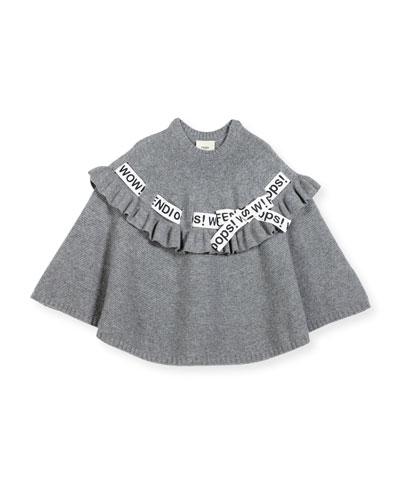 Girls' Logo Ribbon Poncho, Size M-L