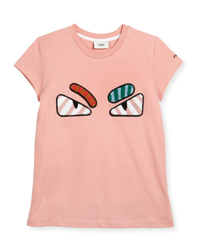 Girls' Short-Sleeve Embroidered Monster Eye T-Shirt, Pink, Size 6-8