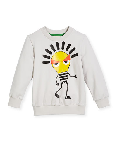 Boy's Long-Sleeve Light Bulb Sweatshirt, Size 10-14