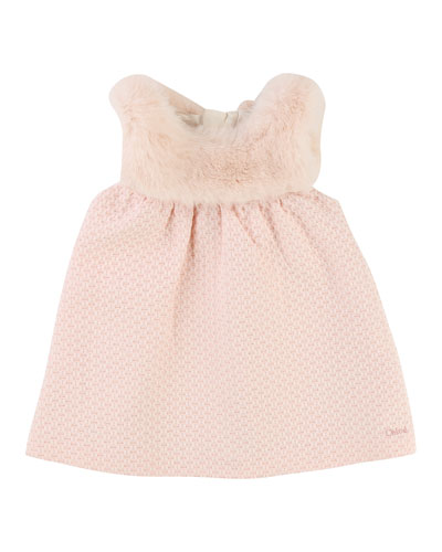Sleeveless Faux-Fur Dress, Size 12-18 Months