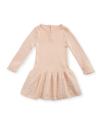 Long-Sleeve Knitted Sequin Dress, Size 12-18 Months