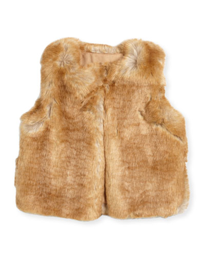 Sleeveless Faux-Fur Vest, Size 4-5