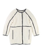 Soft Lined Coat w/ Contrast Trim, Size 4-5