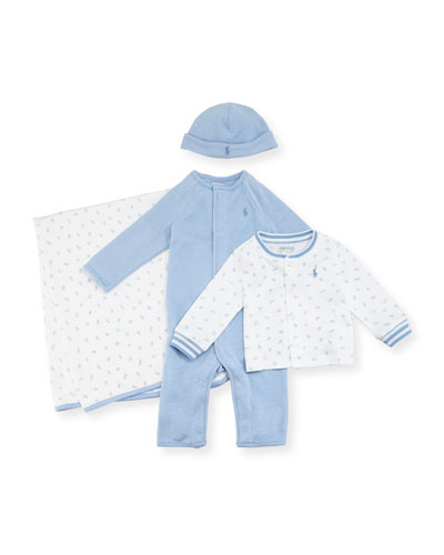 4-Piece Boxed Layette Set, Blue, Size 3-9 Months