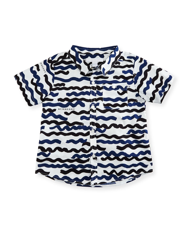 Tyson Brushstroke Poplin Shirt, Navy, Size 12 Months