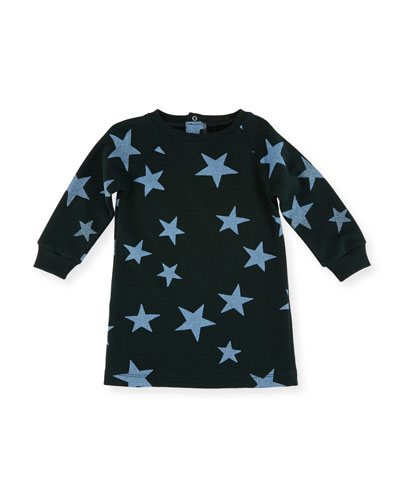 Leona Glittered Star-Print Fleece Dress, Size 12-36 Months