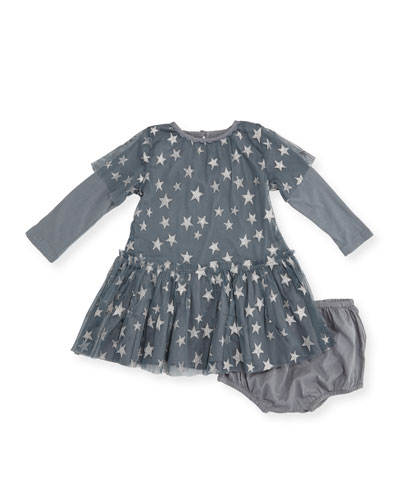 Glittered Star Tulle Dress w/ Bloomers, Size 12-36 Months