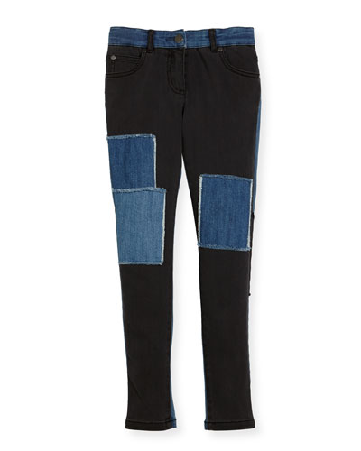 Nina Patched Denim Skinny Jeans, Size 4-14