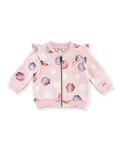 Floral Pompom Zip Jacket, Light Pink, Size 12-18M