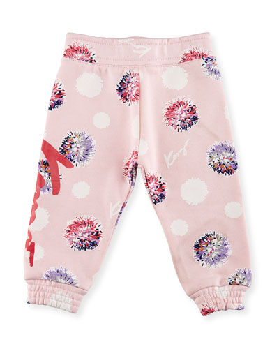 Allover Floral Sweatpants, Light Pink, Size 12-18M