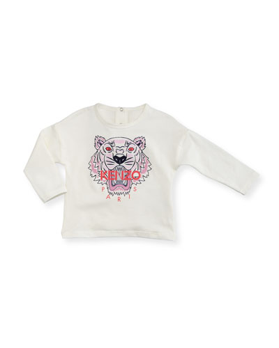 Long-Sleeve Tiger Tee, Off White, Size 2-3