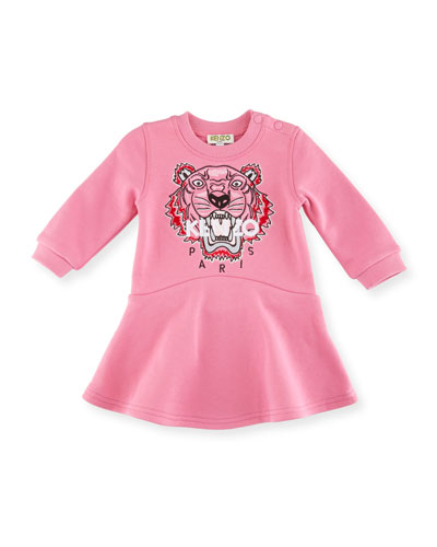 Bubble Tiger Sweater Dress, Medium Pink, Size 12-18M