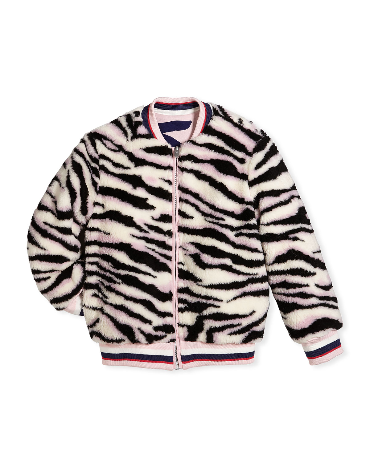 Reversible Faux-Fur Zebra Print Jacket, Size 14-16