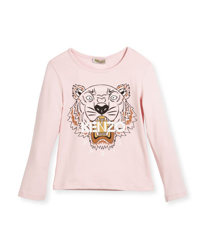 Long-Sleeve Tiger Logo T-Shirt, Pink, Size 8-12