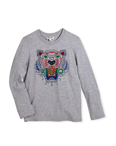 Long-Sleeve Logo Tiger Tee, Size 2-3