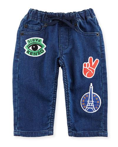 Fleece Patchwork Denim Pants, Blue, Size 12-18M