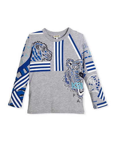 Long-Sleeve Logo Tiger Tee, Size 4-6