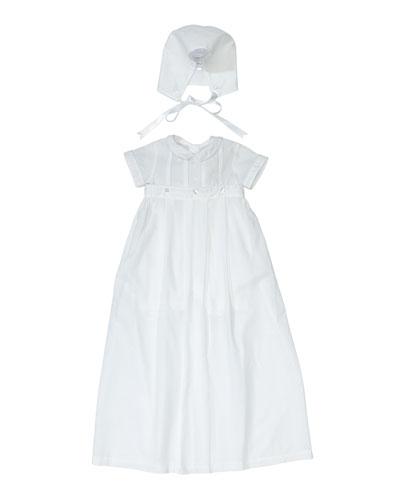 Brayden ShortSleeve Convertible Christening GownCoverall w Matching Bonnet