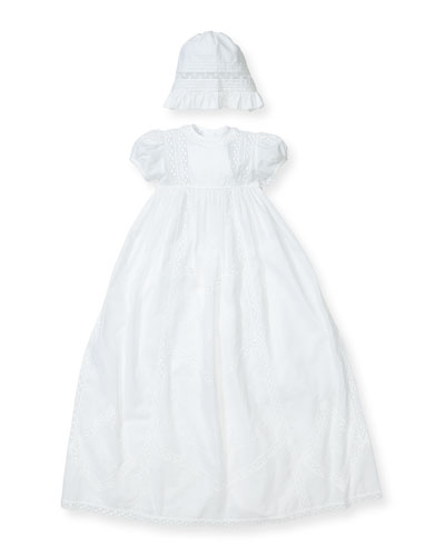 Victoria Short-Sleeve Christening Gown Set, Size 0-18 Months