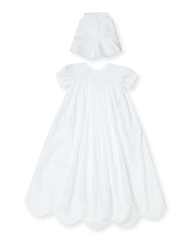 Caroline Short-Sleeve Christening Gown Set, Size 0-18 Months