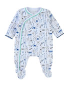 Allover Cartoon-Print Footie Pajamas, Size 3-9 Months