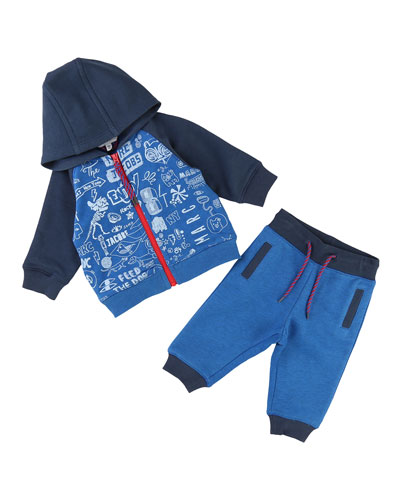 Printed Jogging Jacket w/ Sweatpants, Size 2-3