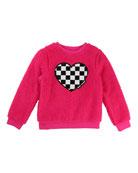 Soft Faux-Fur Heart Illustration Sweater, Size 4-5