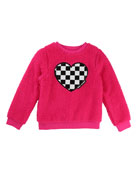 Little Marc Jacobs Soft Faux-Fur Heart Illustration Sweater,