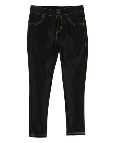 Satiny Stretch Trousers, Size 4-5