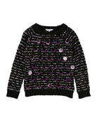 Long-Sleeve Striped Sweater w/ Large Sequins, Size 4-5