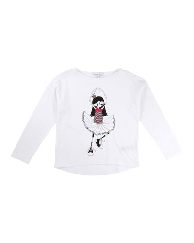 Miss Marc Long-Sleeve Tee, Size 6-10