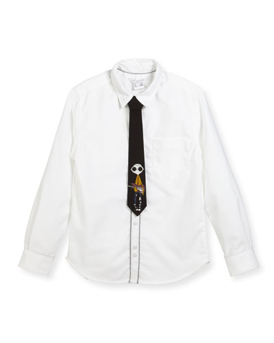 Long-Sleeve Oxford Shirt w/ Mister Marc Tie, Size 4-5