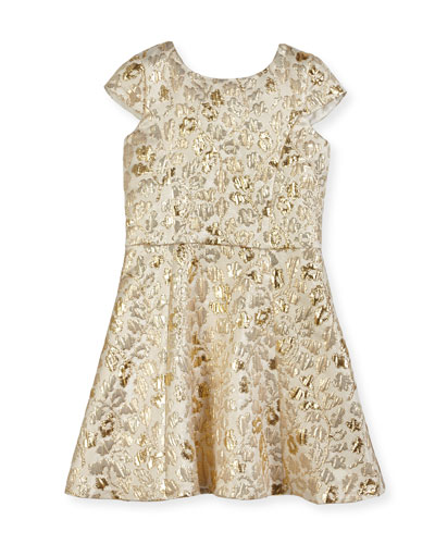 Floral Jacquard Cap-Sleeve Dress, Size 8-16