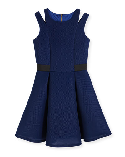 Lattice Mesh Dress w/ Shoulder Cutouts, Royal Blue, Size 8-16