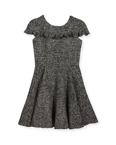 Tweed Cap-Sleeve Dress w/ Ruffle Trim, Size 8-16