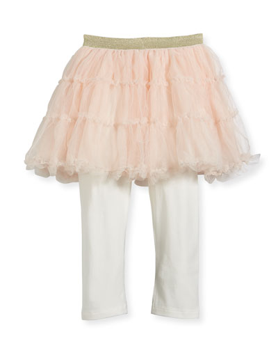 Jersey Leggings w/ Attached Tulle Skirt, Size 12-18 Months
