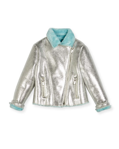 Faux-Fur Lined Metallic Moto Jacket, Size 4-8