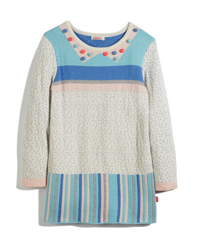 Knit Jacquard Striped & Polka-Dot Dress, Size 4-8