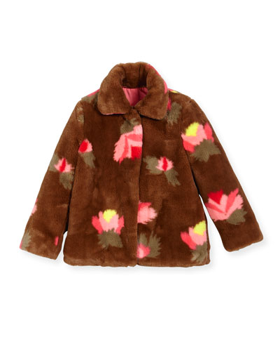 Faux-Fur Floral Coat