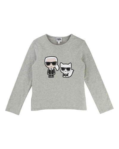 Karl & Choupette Front-Back Graphic Tee, Size 4-5