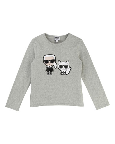 Karl & Choupette Front-Back Graphic Tee, Size 12-16