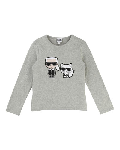 Karl & Choupette Front-Back Graphic Tee, Size 6-10