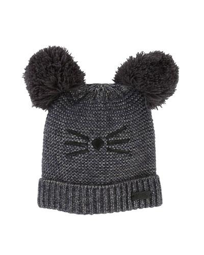 Kids' Knit Hat w/ Pompoms