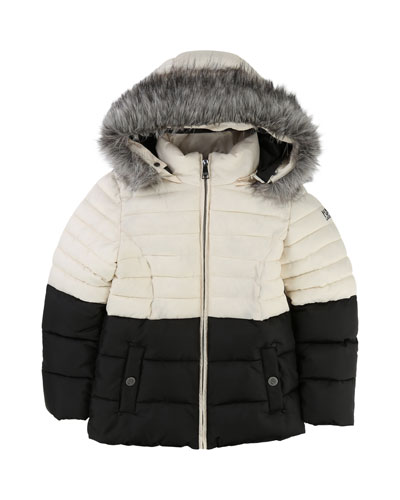 Two-Tone Puffer Jacket, Size 12-16
