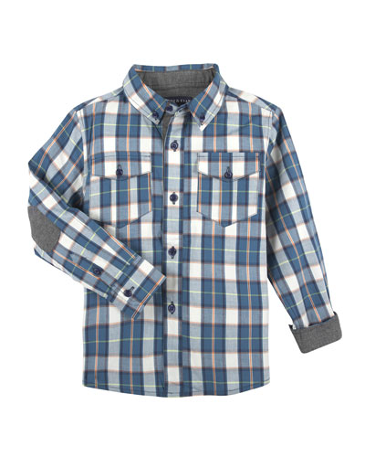 Patch-Elbow Plaid Shirt, Size 2-7