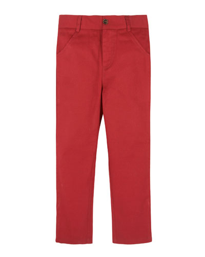 Twill Straight-Leg Pants, Maroon, Size 2-7