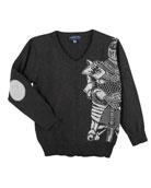 Knight V-Neck Sweater, Size 2-7