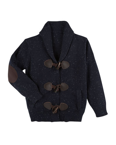 Slub-Knit Toggle Cardigan, Size 2-7